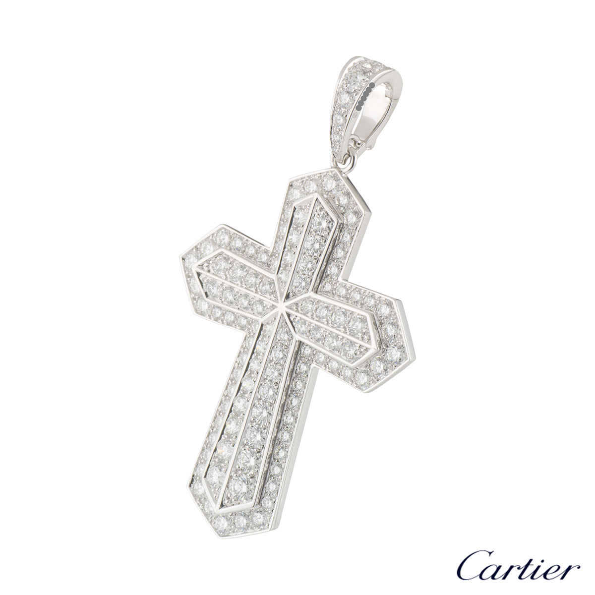 Cartier White Gold Diamond Cross Pendant